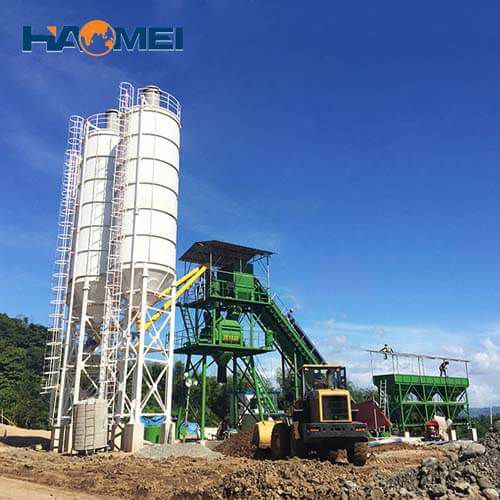 high quality hzs120 stationary concrete batching plant