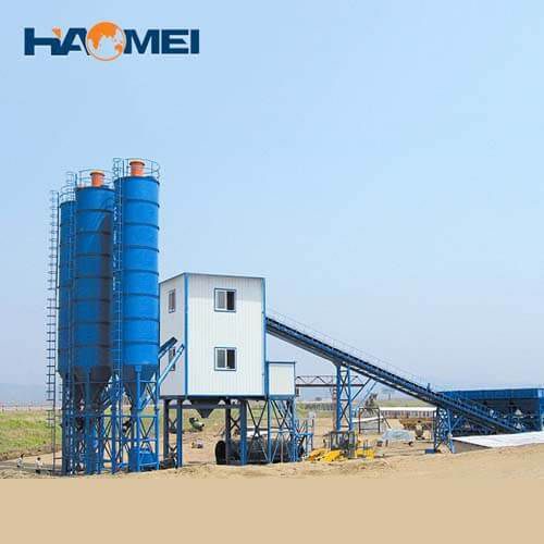 low cost hzs120 stationary concrete batching plant