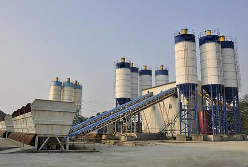hzs120 stationary concrete batching plant
